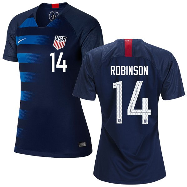 Women's  #14 Antonee Robinson  2019 Soccer USA  Away Jersey Navy Short Shirt