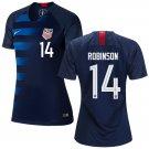 Women's  #14 Antonee Robinson  2019 Soccer USA  Away Jersey Navy Short Shirt