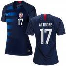 Women's  #17 Jozy Altidore 2019 Soccer USA  Away Jersey Navy Short Shirt