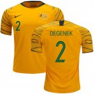 Milos Degenek #2 Australia National Team #AsianCup2019 Home Jersey – Gold/Green