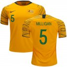 Mark Milligan #5 Australia National Team #AsianCup2019 Home Jersey – Gold/Green