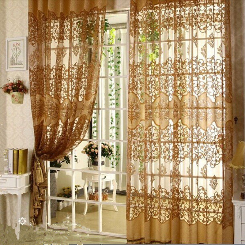 European Jacquard Curtains Sheers Window Curtain Panel Home Decor