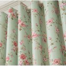 "GREEN- FLORAL BLACKOUT WINDOW/DOOR LINED CURTAIN,2 PANEL 39''W X 98""H"