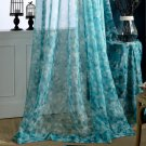New Curtain Blue Floral Window Door Curtain Panel Printed Curtains
