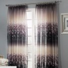 Fashionable LINEN BLEND CURTAIN Drapes Floral Romantic Gray