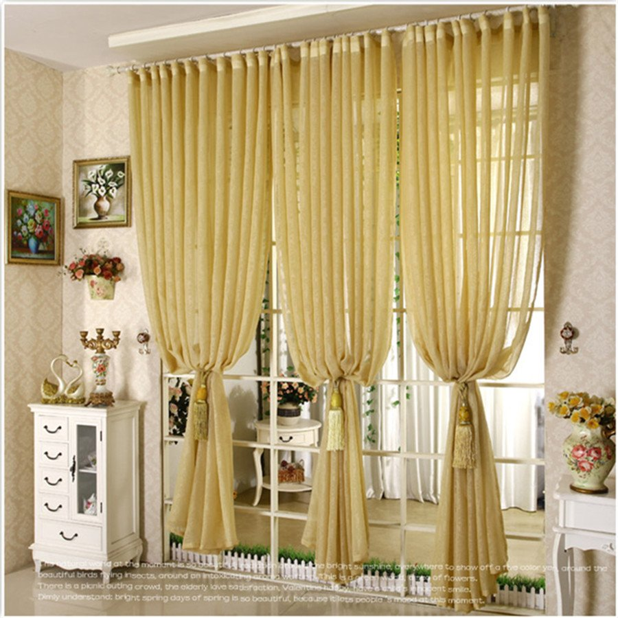 Yellow color tulle sheer curtain panel for bedroom living room window decoration