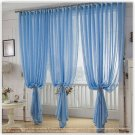 Blue color tulle sheer curtain for bedroom or living room window