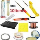 Buyyart New Original Commercial 10 Items Soldering Iron (25W) Kit ,Flux,Wire,Pas