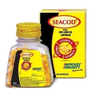 SEACOD Liver Oil- Vitamin A, D and Omega 3 Fatty Acids Improve Immunity-100 Cap.