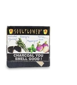 Soulflower Charcoal You Smell Good Soap, 150g 100% Cleansing Soap Free Ship