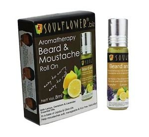 Soulflower Aromatherapy Beard and Moustache Roll On, 8ml -olive and jojoba oil