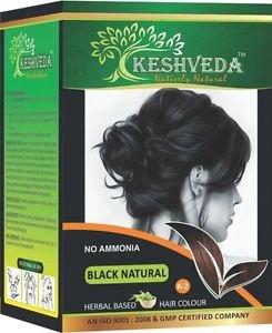 BLACK NATURAL HAIR COLOR 120 GM BY KESHVEDA NO AMONIA PURE HERBAL FREE SHIP