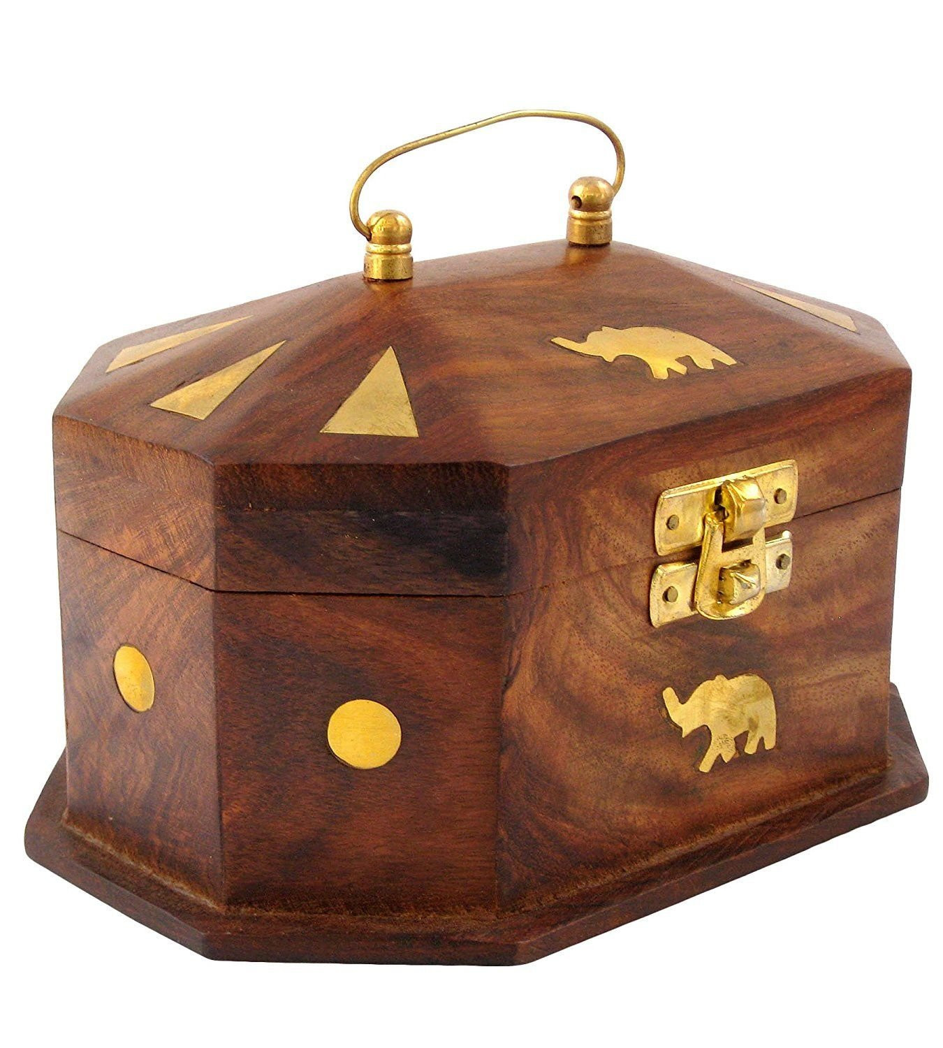 Handmade Wooden Jewellery Box for Women Jewel Organizer Elephant Décor, 6 Inches