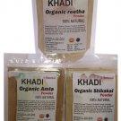 Khadi- Soapnuts, Acacia Concinna, Indian Gooseberry Hair Care Combo 100 GMS X 3