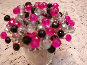 35 Crystal Hot Pink Black Silver Toothpicks Wedding Bachelorette Party Picks Mix