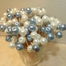 35 White Blue Pearl Bead Toothpicks Wedding Dinner Party Picks Baby Boy Shower
