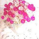 Pink Fuchsia Crystal Toothpicks Wedding Christmas Dinner Party Dessert Food Pick