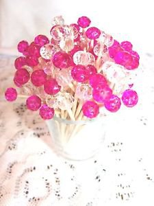 Pink Fuchsia Crystal Toothpicks Wedding Christmas Dinner Party Dessert Food Pick