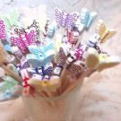 30 Butterflies Beads Toothpick Dinner Party Pick Hostess Gift July 4th Pink Mix