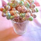Wedding Toothpicks Pastel Pearl Dinner Shabby Dessert Food Picks Party Pink Chic