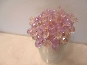 Pink Lavender Crystal Wedding Toothpick Girl Baby Shower Picks Hostess Gift