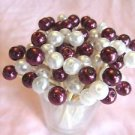 50  Burgundy Maroon White Pearl Bead Toothpicks Wedding Graduation Party Pick
