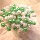 35 Grass Green Pearl Toothpicks Bead Wedding Party Food Picks Cocktail Skewers