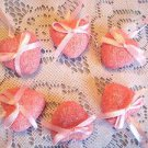 MINI Pink Valentines Day Hearts Ornaments Crafts Wedding Shabby Chic Glitter