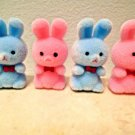MIni Pink Blue Flocked Easter Bunnies Rabbits Bunny Crafts Baby Boy Girl Shower