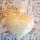 Shabby Ivory Glass Heart Ornament Feather Tree Valentines Crystal Christmas