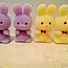 4 MIni Yellow Lavender Purple Flocked Easter Bunnies Rabbits Bunny Crafts