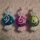 3 MINI Shabby Candy Ornaments Glitter Christmas Feather Tree Pink Blue Green