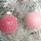 Shabby Pastel Pink Rose Fuchsia Glass Balls Ornaments Tree Christmas HP Chic