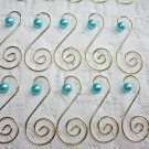 Pink Turquoise White Pearl Gold Ornament Tree Hooks Hangers Scroll Shabby Chic