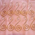 10 Crystal Bead with Gold Ornament Tree Hooks Hangers Scroll Fancy
