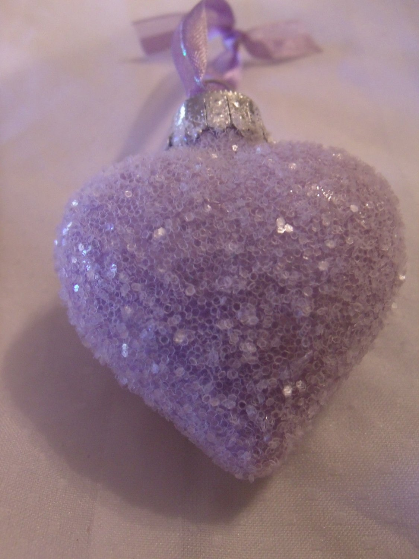 Shabby Purple Dark Lavender Glass Heart Ornament Feather Tree Valentines Day  HP