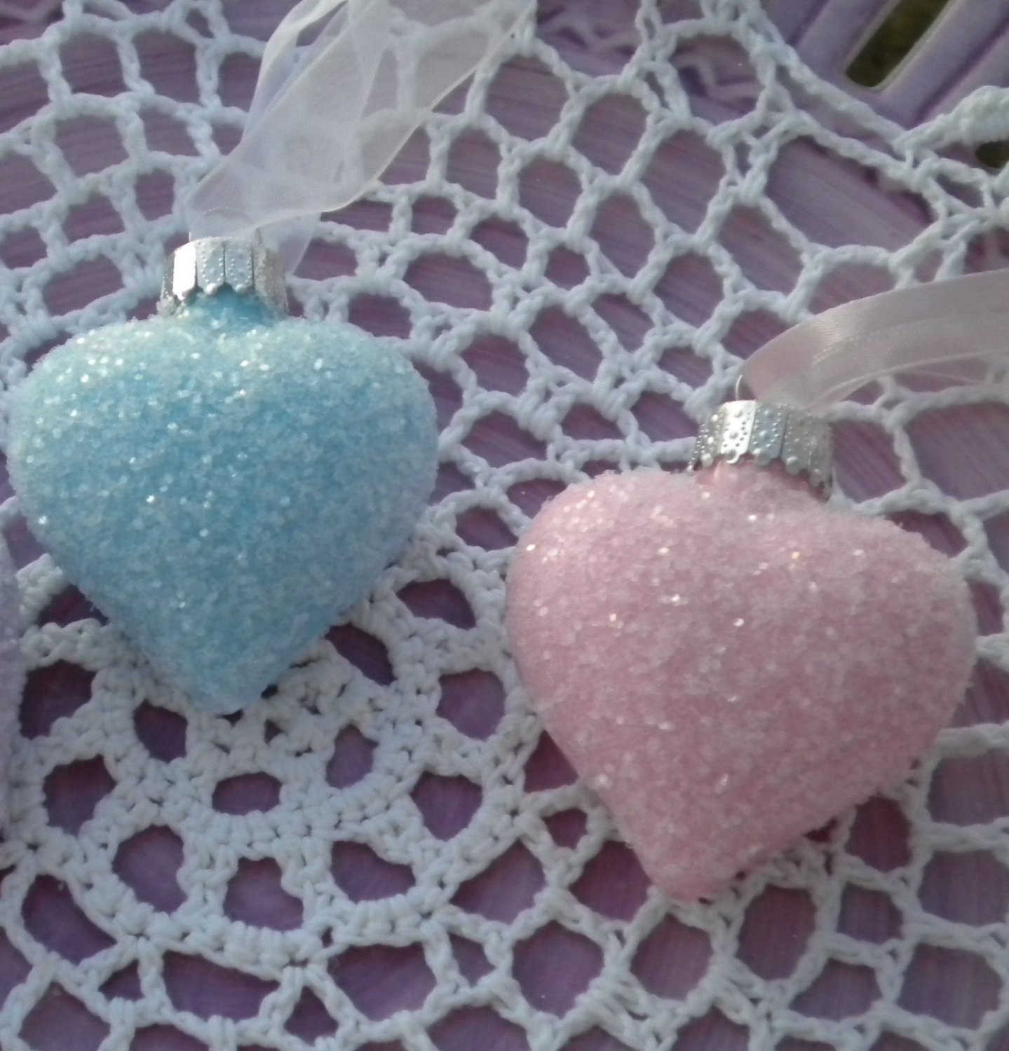 Shabby Aqua Pink Glass Hearts Ornaments Tree Hand-Painted Valentine Day EASTER