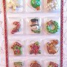 Resin Christmas Mini Ornament Feather Tree Ball Candy Cane Wreath Santa Gift Tag
