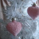 Shabby Rose Pink Glass Hearts Ornaments Tree Chic HP Christmas Valentine Day
