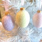 3 Glass Eggs Christmas Tree Ornaments Shabby Pink Lavender Yellow Glitter HP Lot