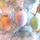 3 Glass Eggs Christmas Tree Ornaments Shabby Green Easter Aqua Blue Glitter HP