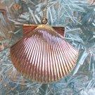 1 Gold Metal Scallop Pectin Clam Seashell Christmas Ornament Tree Coastal Beach