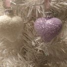 Shabby White Purple Glass Hearts Ornaments Tree Hand-Painted Pastel Christmas