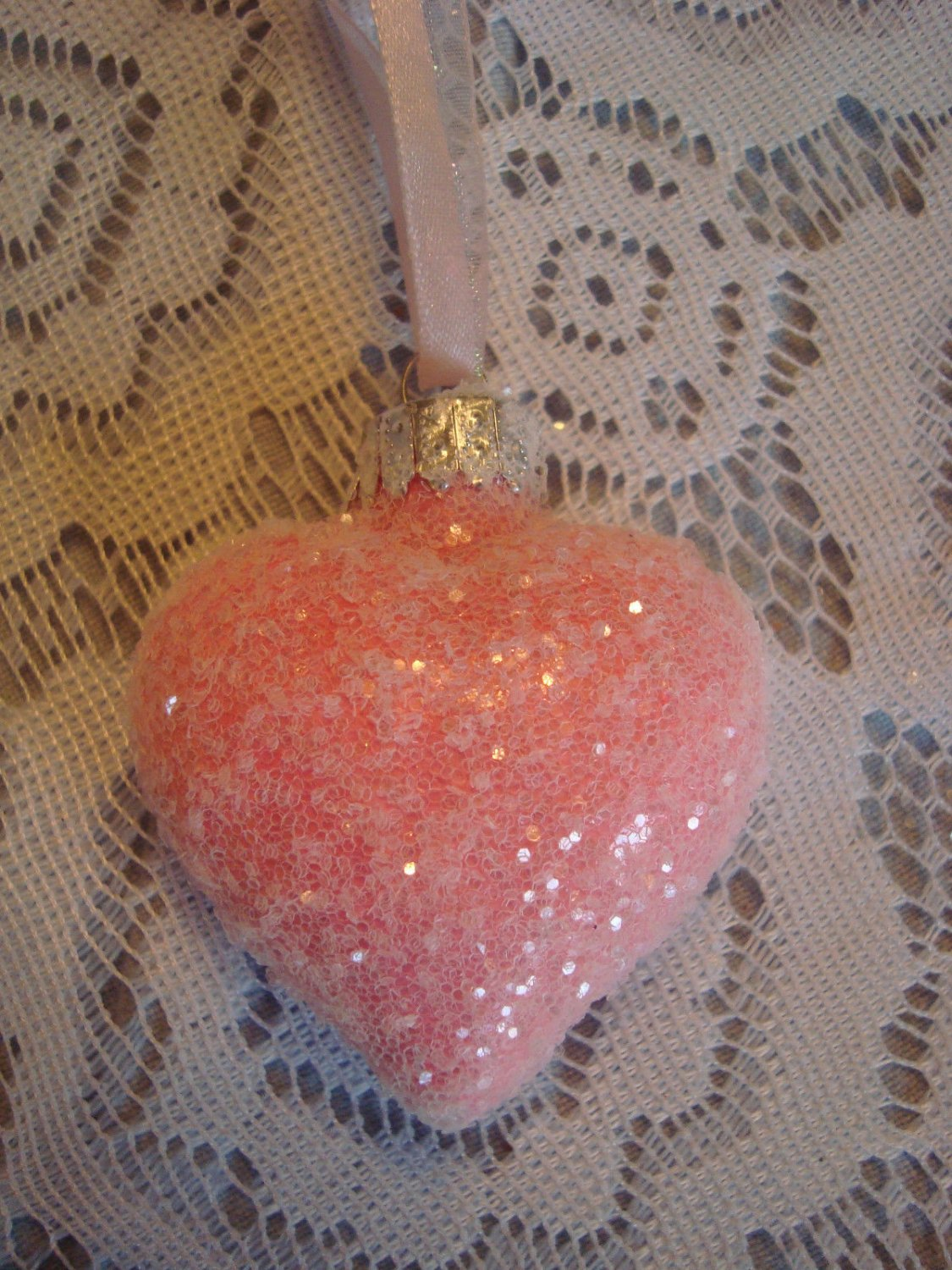 Shabby Pink Rose Glass Heart Ornament Feather Tree Valentines Day Crystal Chic