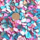 4oz.Turquoise Blue Pink Crushed Abalone Seashells Crafts Vase Filler Shell Dyed