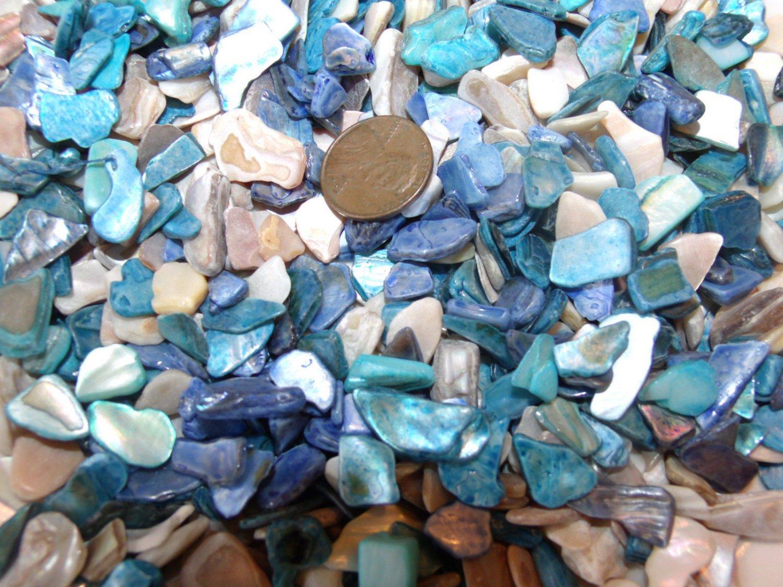 3oz Blue Beige Crushed Seashells Mosaics Vase Filler Shells Beach Crafts