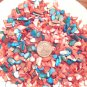 3oz Coral Red Blue Patriotic Crushed Abalone Seashell Mosaic Vase Filler Shell