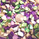 3oz Purple Green Crushed Abalone Seashells Vase Filler Sea Shells Craft Jewelry