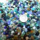 3oz Mini Blue Green Mix Glass Pebbles Crafts Sea Aquarium Stone Jewels Gem Beach