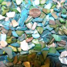 3oz Ivory Blue Green Crushed Seashells Vase Filler Dyed Shells Craft Jewelry